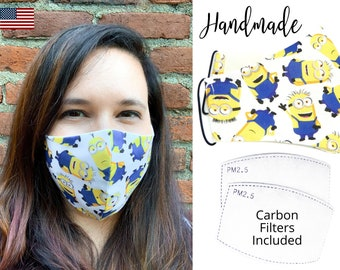 Yellow Minions Cotton Fabric Face Mask with adjustable elastic tie, for Men Women and children, handmade with carbon filter pocket