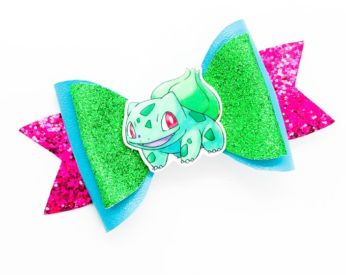 Bulbasaur Pokemon Glitter Hair Bow