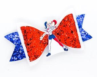Harley Quinn DC Super Hero Girls Inspired Chunky Glitter Hair Bow Superhero