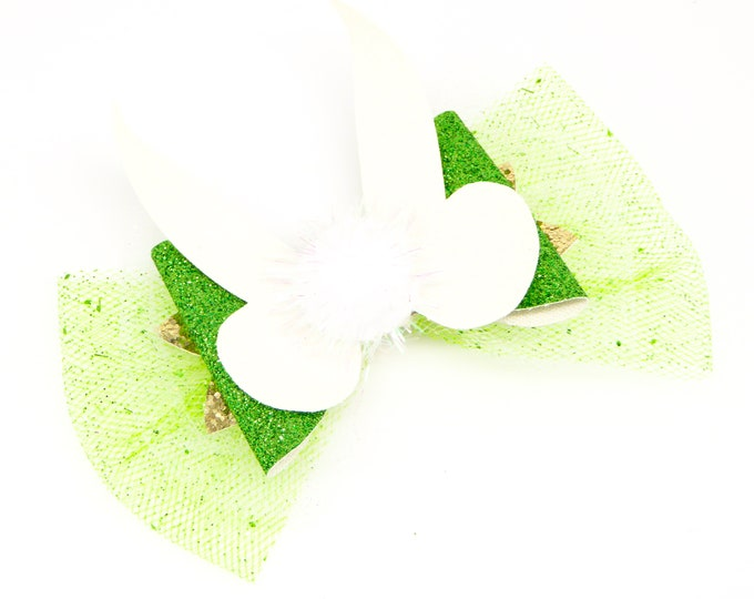 Tinkerbell Glitter Hair Bow with 3D wings