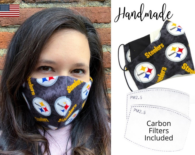 Pittsburgh Steelers Cotton Fabric Football Face Mask with elastic tie, for Adult Men Women and children, handmade with carbon filter pocket