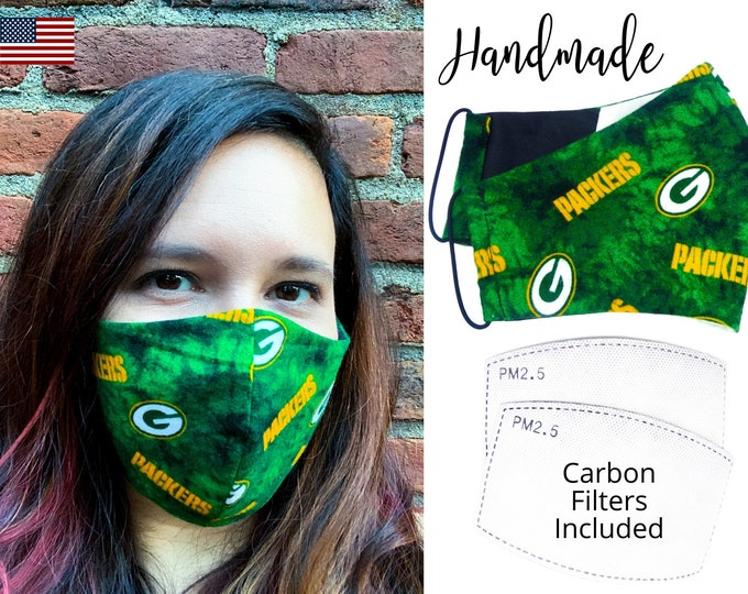 Green Bay Packers Cotton Fabric Football Face Mask with elastic tie, for Adult Men Women and children, handmade with carbon filter pocket