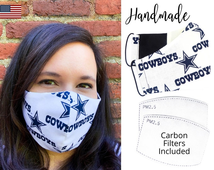 Dallas Cowboys Cotton Fabric Football Face Mask with elastic tie, for Adult Men Women and children, handmade with carbon filter pocket