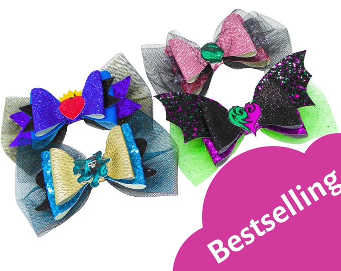 Descendants 3 Mal, Uma, Audrey & Evie Glitter Hair Bows