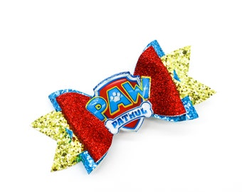 Paw Patrol Inspired Red and Blue Chunky Glitter Hair Bow