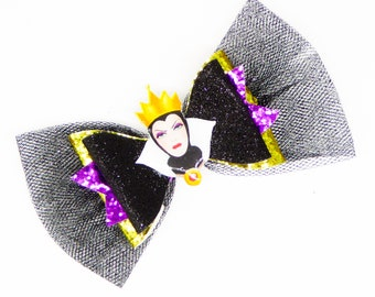 Evil Queen Snow White Disney Inspired Purple Chunky Glitter and Tulle Hair Bow