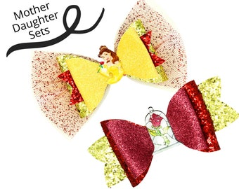 MOTHER AND DAUGHTER Belle and the Red Rose Disney Inspired Princess Beauty and the Beast Set Chunky Glitter and Tulle Hair Bows