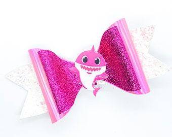 Mommy Shark Baby Shark Inspired Pink Glitter Hair Bow