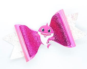 Mommy Shark Baby Shark Inspired Pink Chunky Glitter Hair Bow