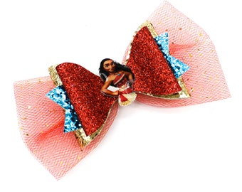 Moana Inspired Necklace Chunky and Fine Glitter and Tulle Hair Bow
