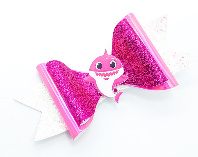 Pink Mommy Baby Shark Glitter Hair Bow