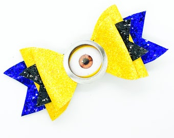 Minion Dispicable Me Yellow Disney Inspired Glitter Hair Bow