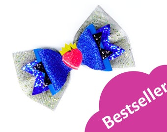 Evie Disney Inspired Descendants 3 Chunky Glitter and Tulle Hair Bow