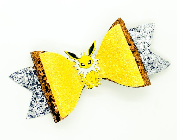 Jolteon Eevee Evolution Pokemon Nintendo Trading Card Game Inspired Yellow Chunky Glitter Leather Hair Bow