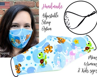 Finding Nemo Cotton Fabric Face Mask with adjustable elastic tie, for Men Women and children, handmade and washable, carbon filter included
