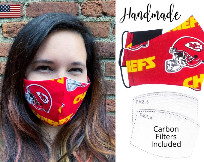 Kansas City Chiefs Football Cotton Fabric Face Mask & elastic tie, for Adult Men Women and children, handmade with carbon filter pocket