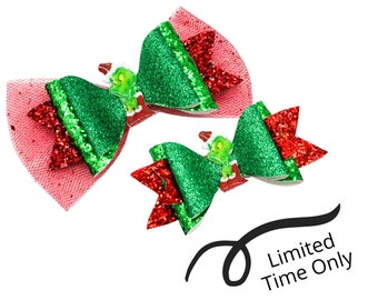 LIMITED TIME only! Grinch Who Stole Christmas Inspired Chunky Glitter Leather and tulle Hair Bows, 2 options
