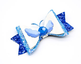 Swablu Pokemon Trading Card Game Inspired Blue Chunky Glitter Leather Hair Bow