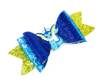 Vaporeon Pokemon Glitter Hair Bow