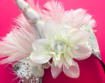 Bridal White Ostrich Feather Unicorn Headband with silk flowers and glitter ears for special occasions and other unicorn themes