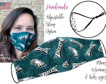 Philadelphia Eagles Fitted Fabric Football Face Mask with adjustable elstic tie, for Adult Men Women & children, handmade with filter pocket