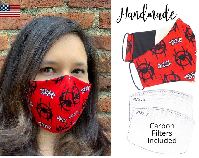 Spiderman Red Avengers Caotton Fabric Face Mask with adjustable elastic tie, for Adult Men Women & children, handmade carbon filter pocket