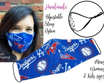 LA Los Angeles Dodgers Baseball Fitted Fabric Face Mask & adjustable  elastic tie, for Adult Men Women and children, handmade filter pocket