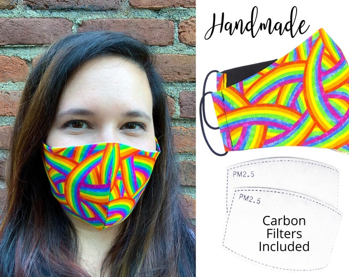 Rainbows Cotton Fabric Face Mask with elastic tie, for Adult Men Women and children, handmade with carbon filter pocket