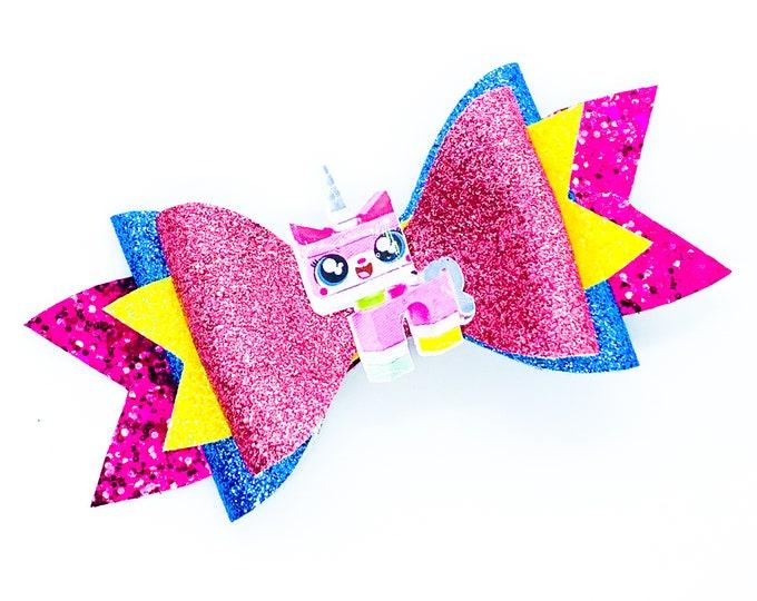 UniKitty Unicorn Cat Lego Movie Disney Inspired Chunky Glitter Hair Bow