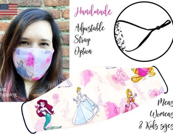 Disney Princess Fitted Fabric Face Mask with adjustable elastic tie, for Men Women & children, handmade with carbon filter pocket