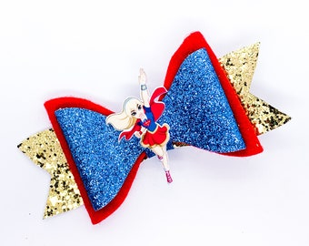 Supergirl DC Super Hero Girls Inspired Chunky Glitter Hair Bow Superhero