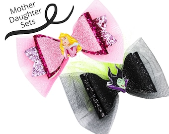 MOTHER AND DAUGHTER Aurora and Maleficent Disney Inspired Sleeping Beauty Princess Set Chunky Glitter and Tulle Hair Bows