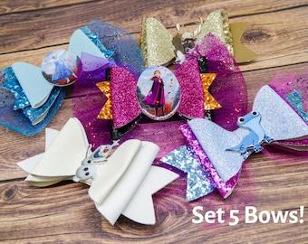 5 Frozen Bow Set Elsa, Anna, Olaf, Sven, & Bruni Disney Frozen Inspired Chunky Glitter Hair Bows