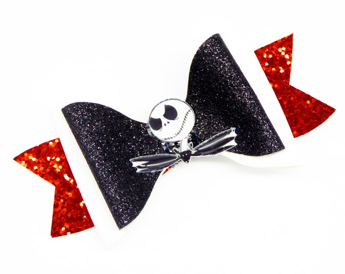 Jack Skellington Glitter Hair Bow