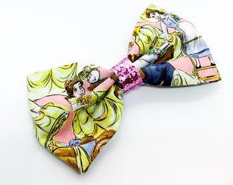 Cotton Fabric Beauty and the Beast Disney Inspired Princess Glitter Hair Bow