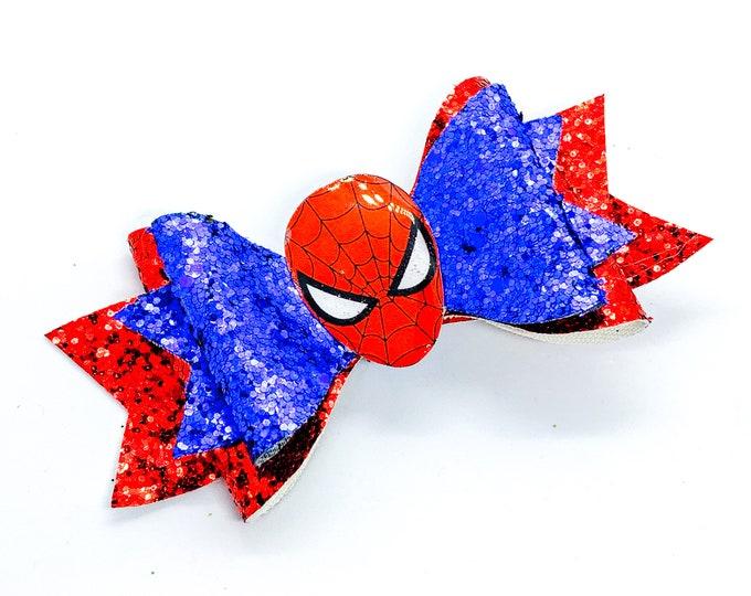Spiderman Marvel Comics Disney Avengers Inspired Blue and Red Chunky Glitter Hair Bow