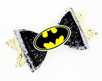Batman DC Comics Justice League Inspired Black Chunky Glitter Hair Bow