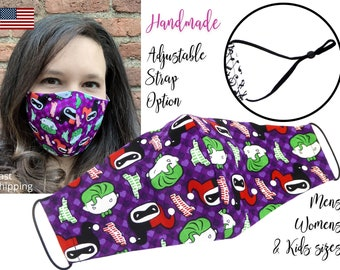 The Joker and Harley Quinn DC Cotton Fabric Face Mask adjustable elastic tie, for Adult Men Women & children, handmade with filter pocket