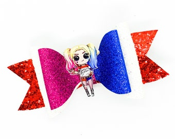 Harley Quinn DC Comics Inspired Chunky Glitter Hair Bow Suicide Squad