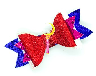 Sailor Moon Sceptor Glitter Hair Bow