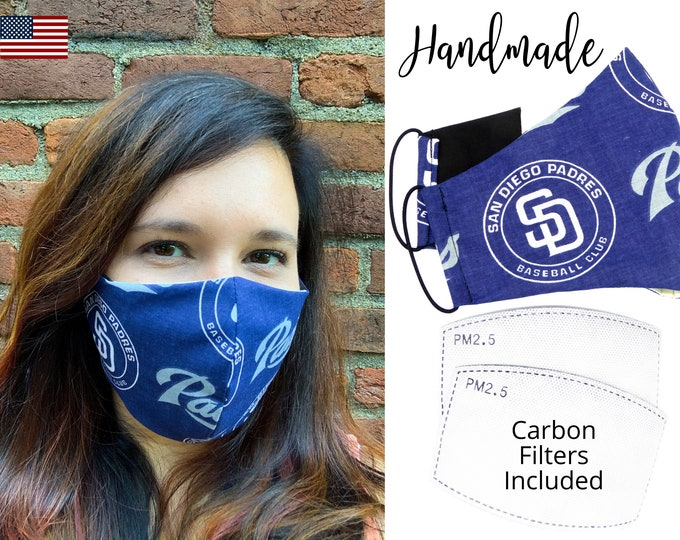 San Diego Padres Baseball Cotton Fabric Face Mask & elastic tie, for Adult Men Women and children, handmade with carbon filter pocket