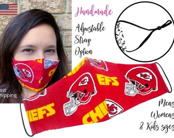 Kansas City Chiefs Football Cotton Fabric Face Mask and adjustable elastic tie, for Adult Men Women & children, handmade filter pocket