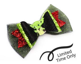LIMITED TIME only! Christmas Santa Baby Yoda Inspired Green Chunky Glitter Leather and tulle Hair Bow