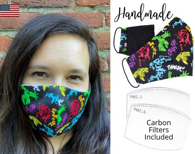 Avengers Comics Smash Cotton Fabric Face Mask with adjustable elastic tie, for Adult Men Women & children, handmade carbon filter pocket