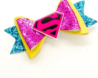 Supergirl DC Comics Inspired Pink Chunky Glitter Hair Bow Superman