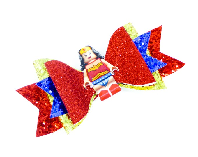 Wonder Woman Lego Movie Glitter Hair Bow