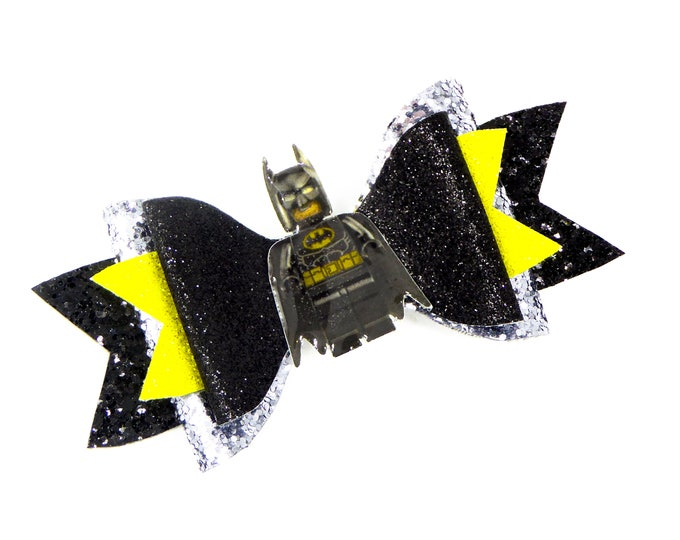Batman Lego Movie Glitter Hair Bow