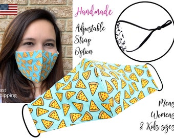 Pizza Slice Fitted Fabric Face Mask with adjustable ears, for Men Women & children, handmade filter pocket