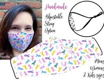 Cancer Ribbon Awareness Fitted Fabric Face Mask adjustable elastic tie, for Adult Men Women & children, handmade with pocket