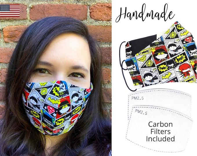Justice League Chibi Comic Cotton Fabric Face Mask adjustable elastic tie, Adult Men Women & children, handmade with carbon filter pocket